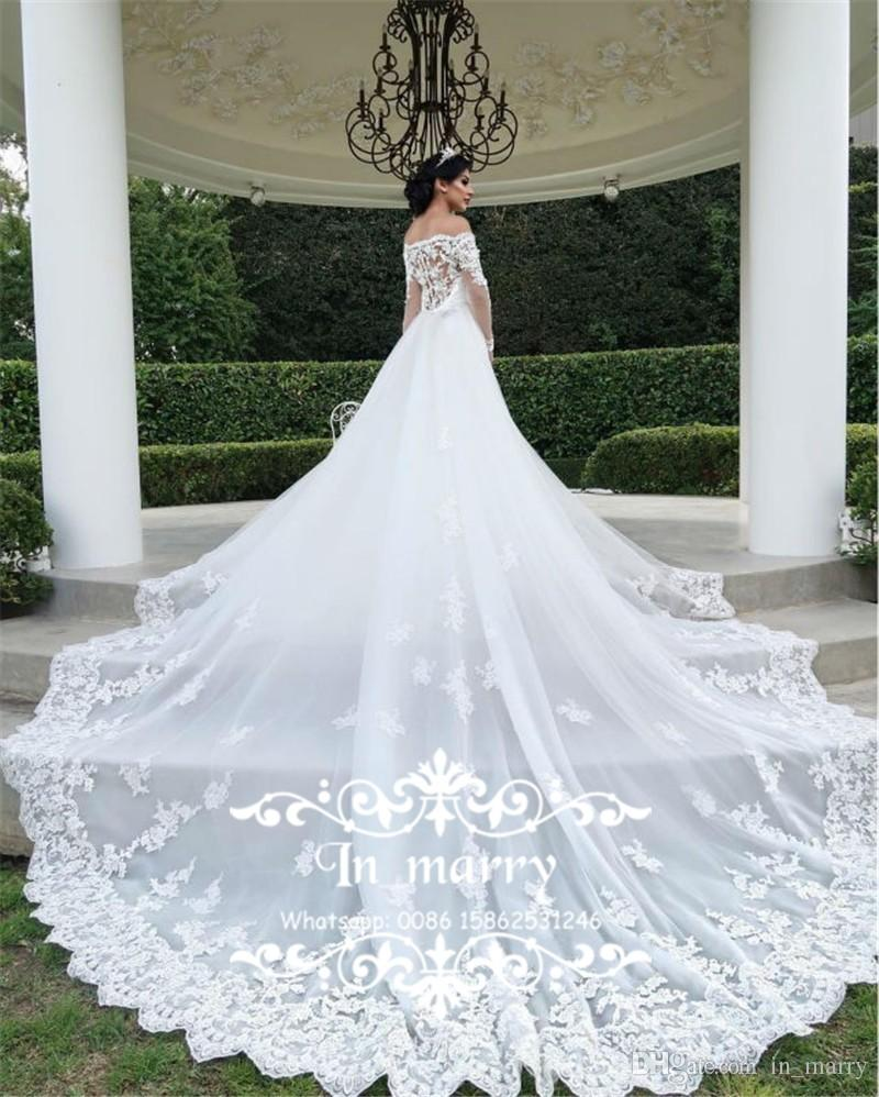 2017 Fall Detachable Cathedral Train Mermaid Arabic Wedding Dresses Lace Off Shoulder Long