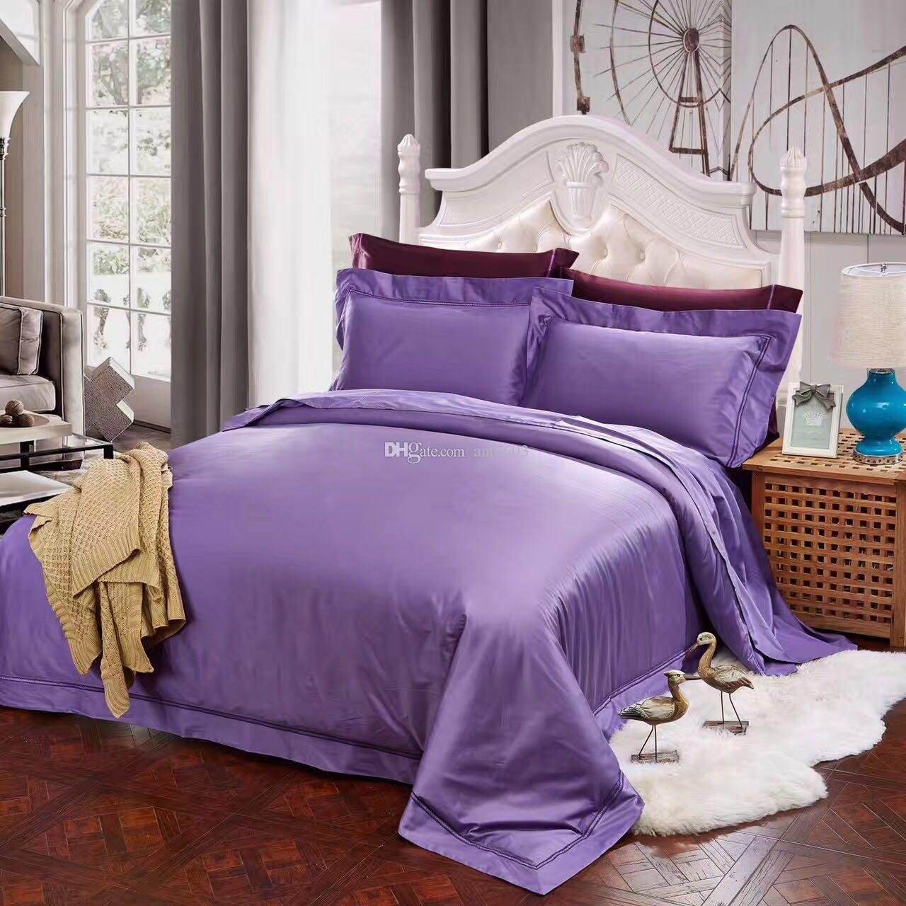 Luxury Supima Solid Bedding Set Duvet Covers Satin King