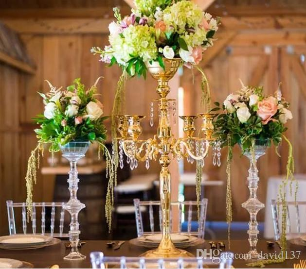 Gold plated table top flower bowl centerpieces for