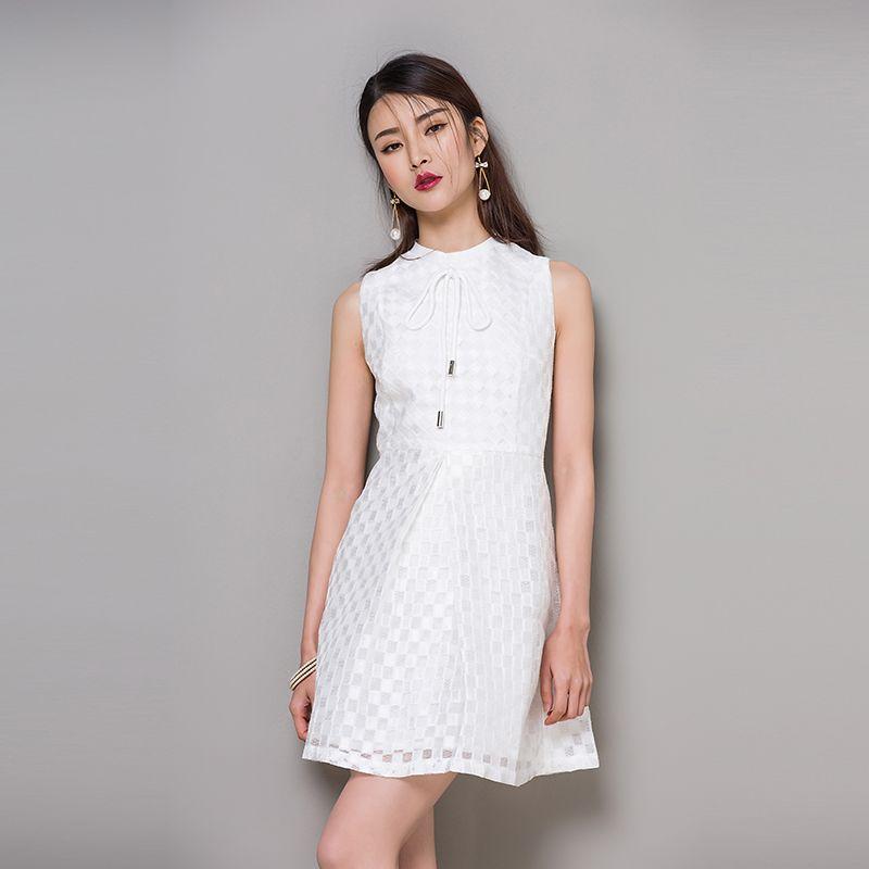 2016 New Design Europe Women White Color Sleeveless Office Dress ...
