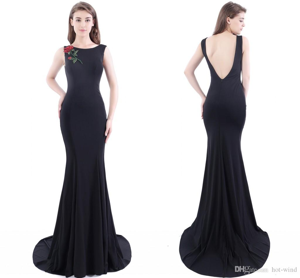Cheap vintage long black mermaid evening dresses 2016 jewel neck cheap vintage long black mermaid evening dresses 2016 jewel neck sexy low v back mermaid prom dresses with sweep train under 50 cps410 mermaid evening gowns ombrellifo Image collections
