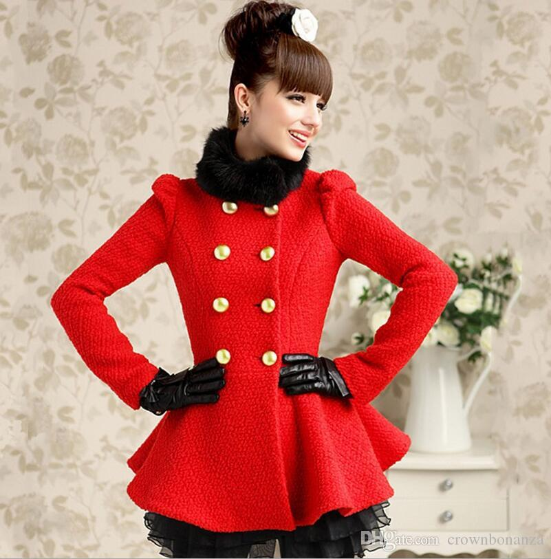 2017 Petite Women Red Wool Coats With Faux Fur Collar Puff Long ...