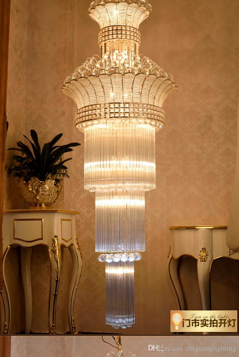 Hotel Decoration Modern Luxury Gold LED Crystal Chandeliers Light Led Ceiling Chandelier Lighting Fixture For Dining Room Lamp Double Stair Long