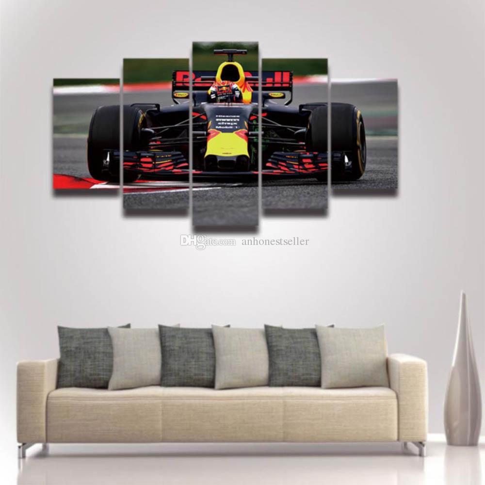 5 Panel Printed Formula Race Car Picture Large Canvas Art For Wall Decor  Home Decoration Living Room Artwork Poster Racing Car Driver Online With ...