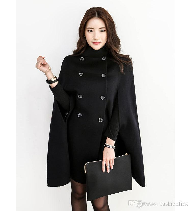 Black Double Breasted Cape Coat Women Military Wool Winter Jacket