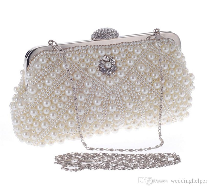 Wholesale Pearl Evening Clutch Bag Beaded Handbag Women Fashion Bags Shoulder Chain Purse Wallet ...