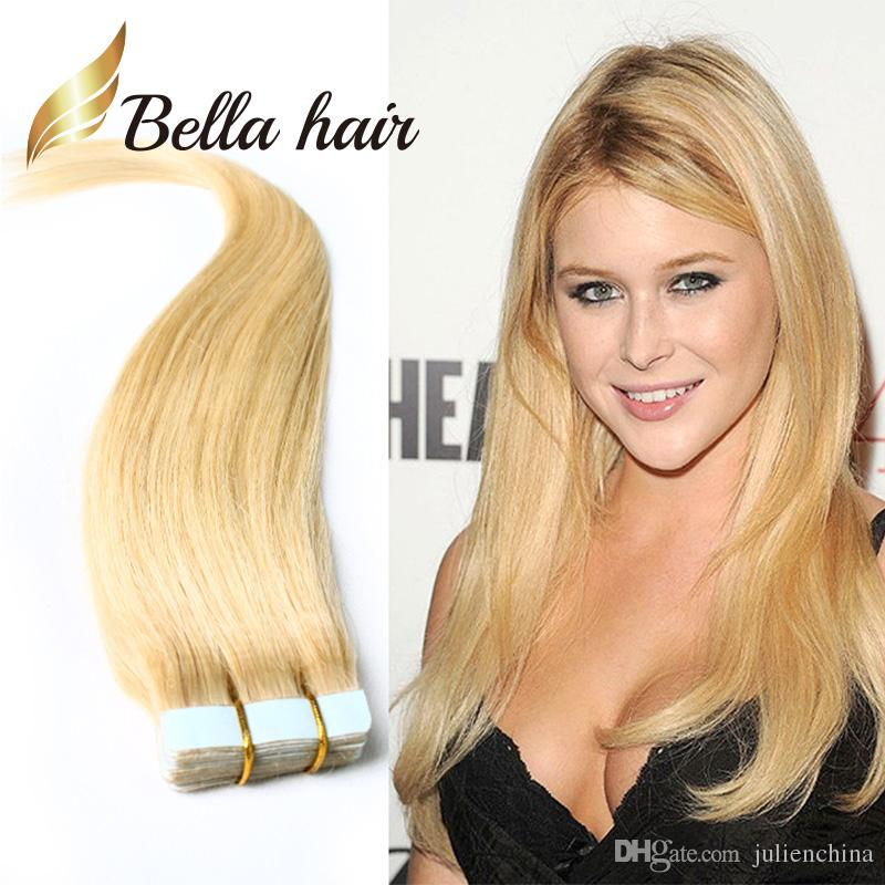 613 pu skin weft hair extensions 100 brazilian human hair 613 pu skin weft hair extensions 100 brazilian human hair extension 25gpiece tape in hair extensions straight bellahair skin hair weft brazilian human pmusecretfo Images