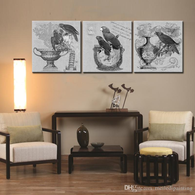 3 picture combination parrot art print wall art solid read to hang for home