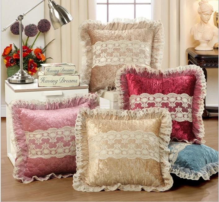 Home Decor Cushions themes European Luxurious Velour Home Decor Cushion Decoration Lace Pillow Velvet Sofa Cushions Throw Pillow Faux