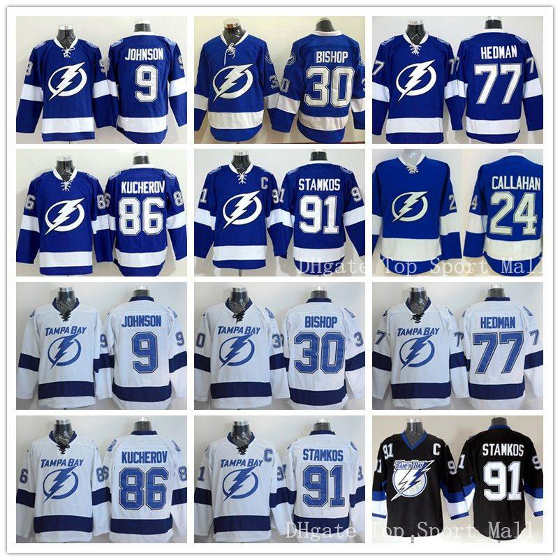Hockey sur glace Tampa Bay Lightning Jerseys 91 Steven Stamkos 9 Tyler Johnson 3