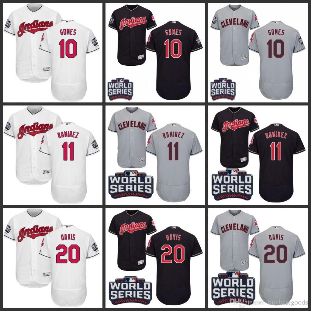 2016 Cleveland Indians 10 Yan Gomes 11 Jose Ramirez 20 Rajai Stitched Authentic