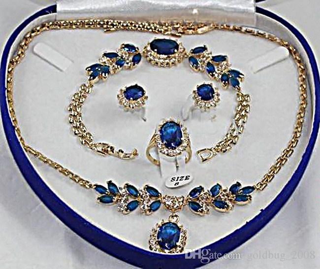 Wholesale Cheap Blue Stone Sapphire Set Necklace Bracelet Earrings Ring Jewellery Sets Free
