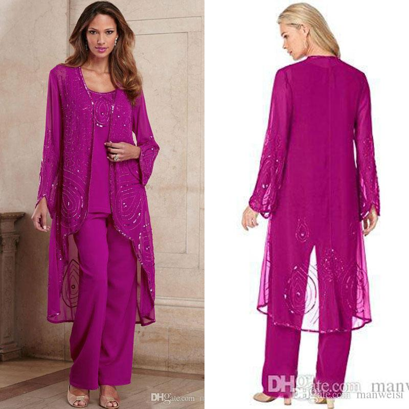 Plus Size Fuchsia Mother Of Bride Pant Suit Three Pieces