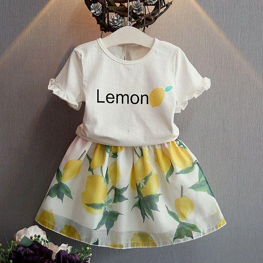 2017 Wholesale 2016 Summer Baby Girls Fresh Lemon Print