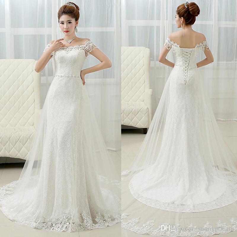 Elegant long lace mermaid wedding dress cheap long train for Wedding dresses for under 300