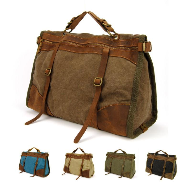 Vintage Retro Military Canvas   Leather Men Travel Bags Lage Bag ...