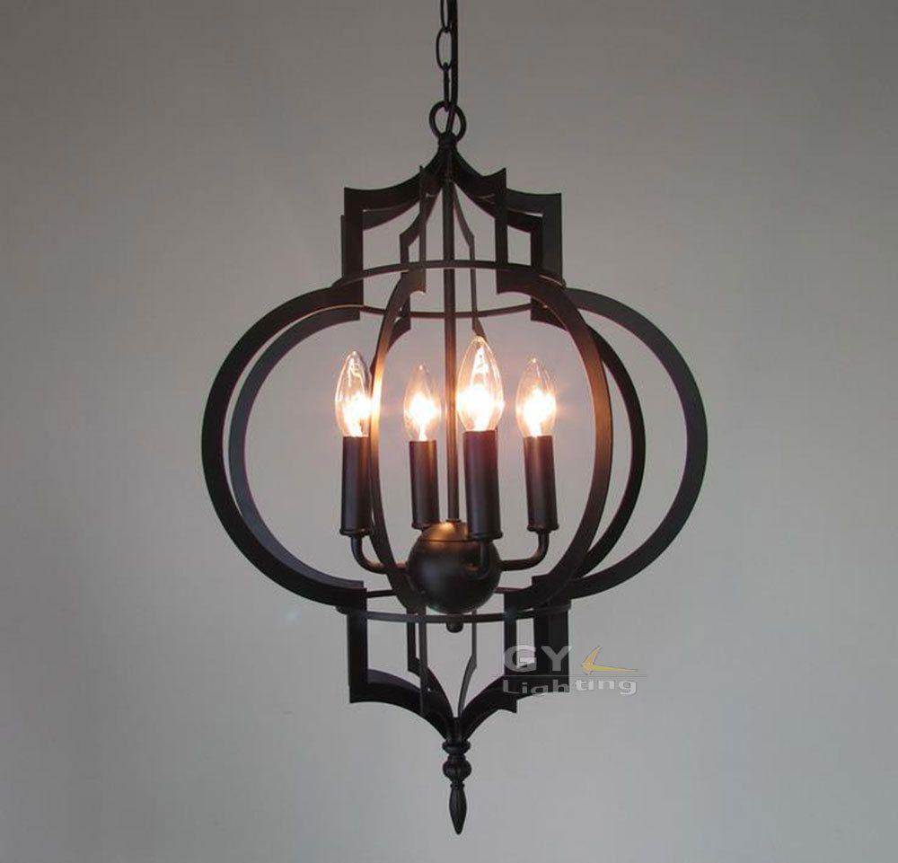 ac100 240v 4260cm 4pcs e14 candle lantern chandelier light fixtures metal cage modern candle decorative modern pendant lamp