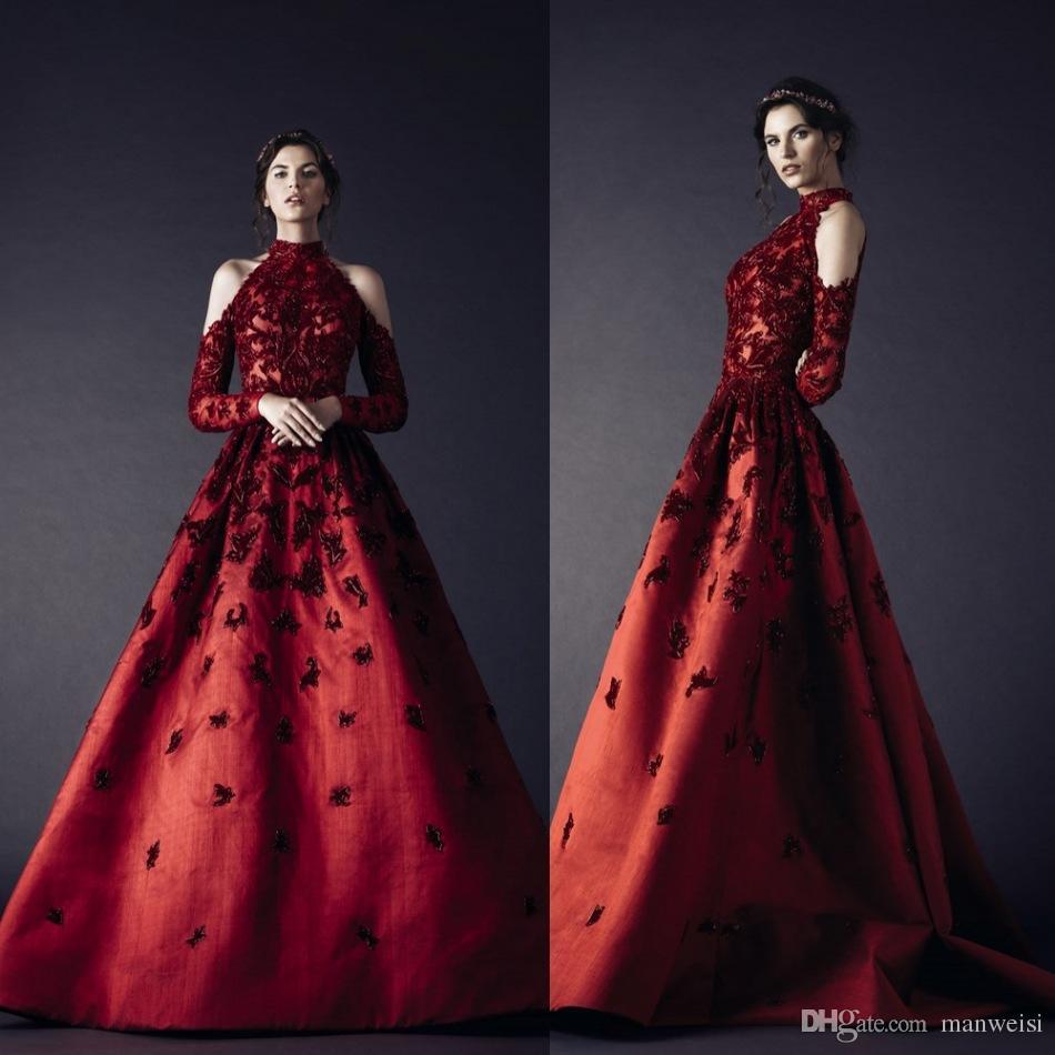 Rami Kadi 2017 Red Evening Dresses High Neckline Long Sleeve ...