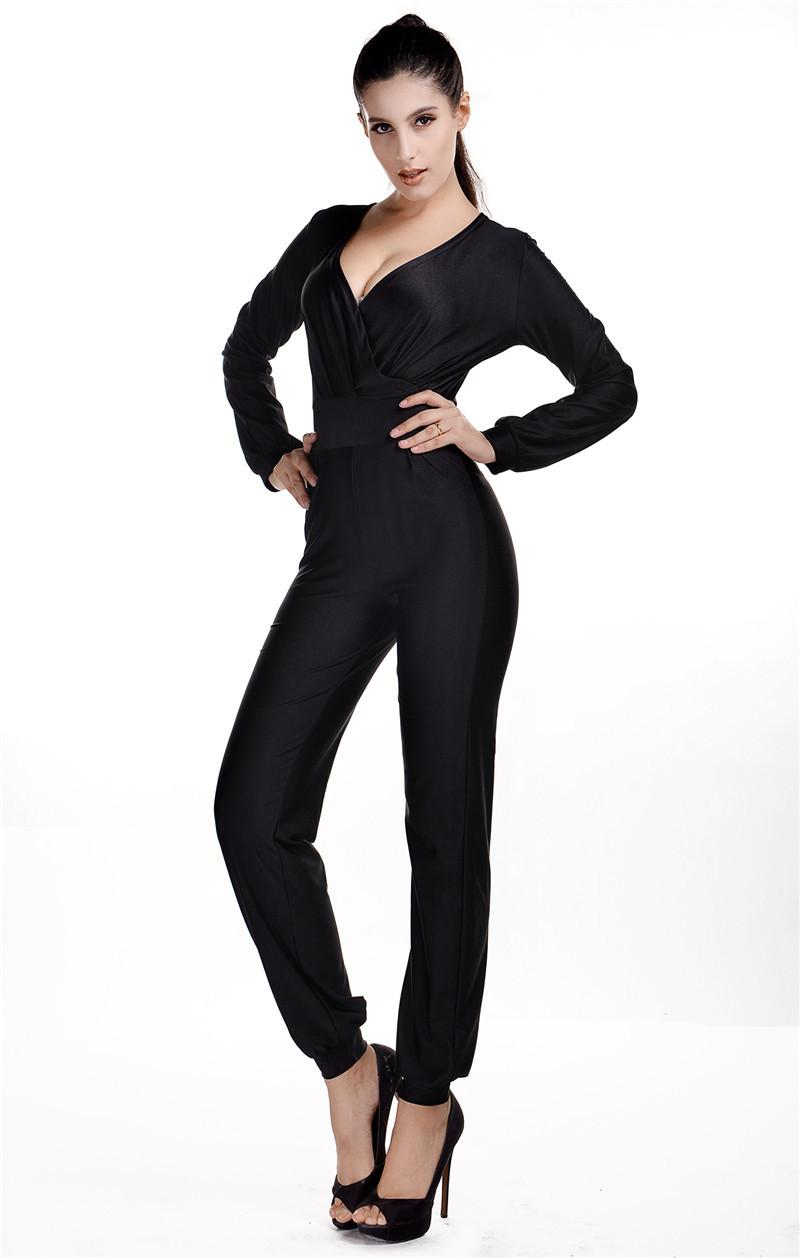 Plunge V Neckline Sexy Rompers Women One Piece Jumpsuit Full Body ...