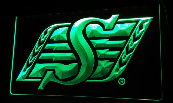 LS068-g Roughriders de la Saskatchewan Sport LED Neon Light Sign