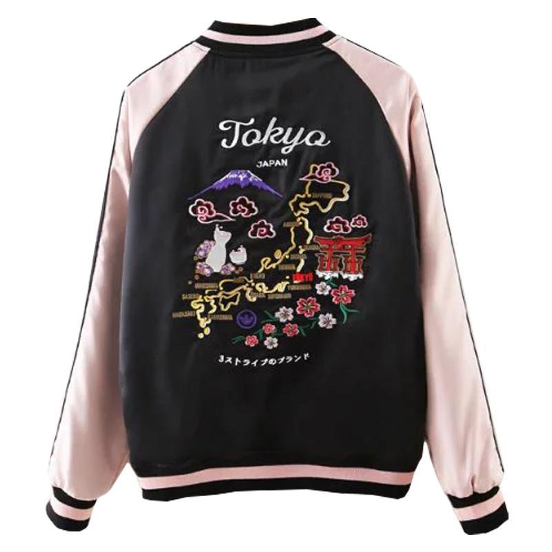 Autumn Tokyo Japan Map Embroidery Souvenir Bomber Jacket Winter ...