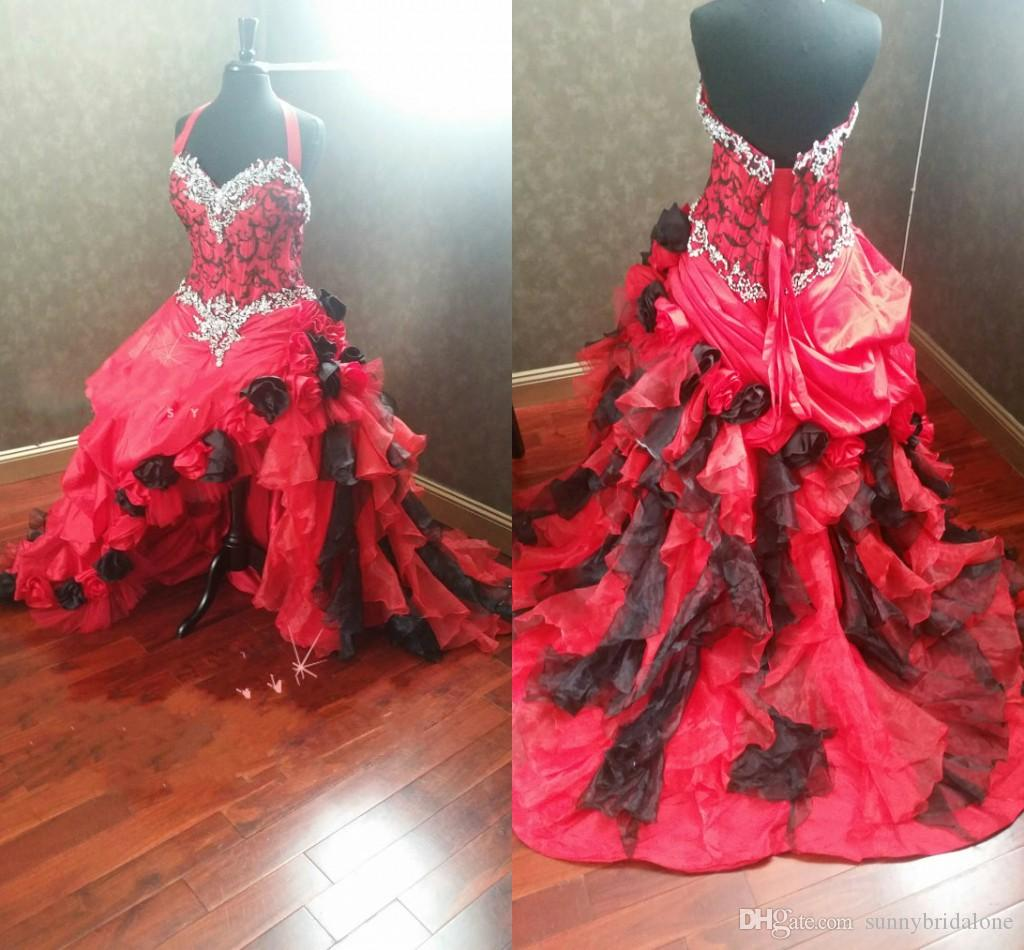 Red And Black Gothic Wedding Dresses Halter Neck