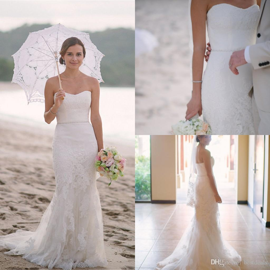 2016 Summer Beach Lace Mermaid Wedding Dresses y