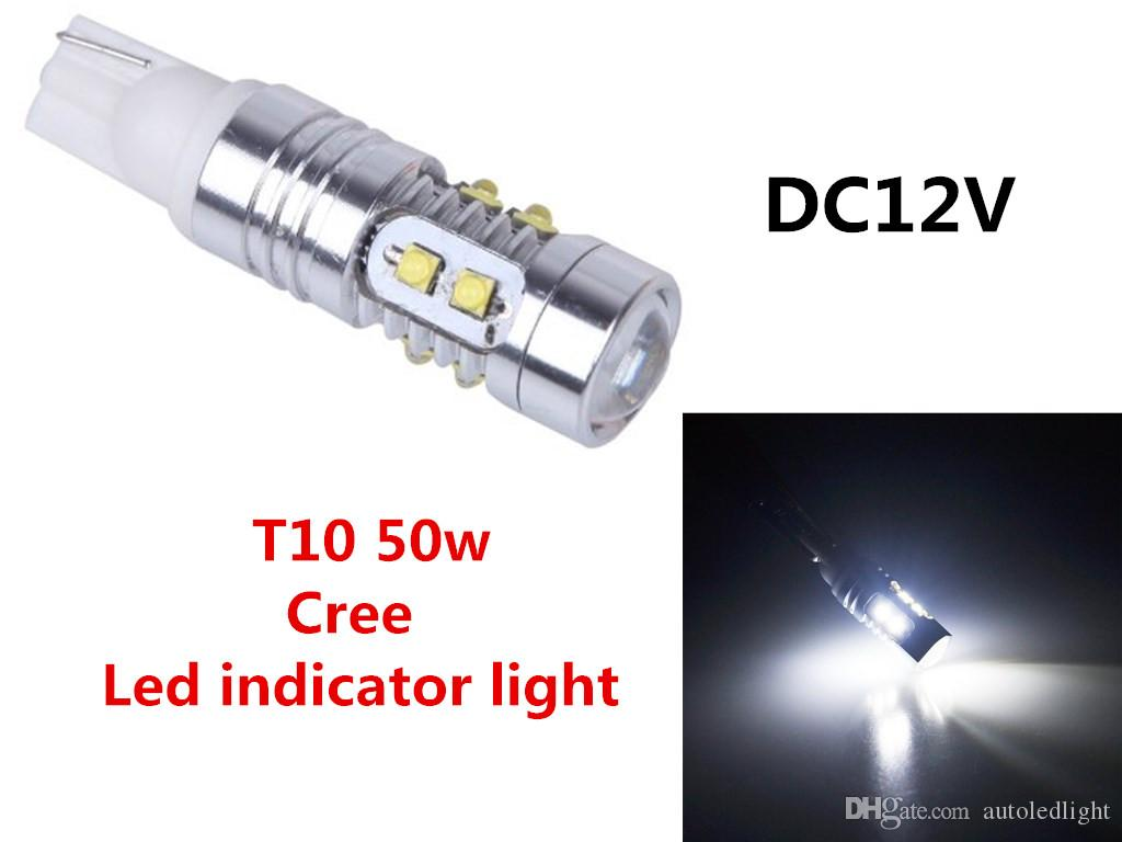 Blanc t15 50W CREE T10 Car LED Coupage d'ampoule Inversé Indicateur d'instrument