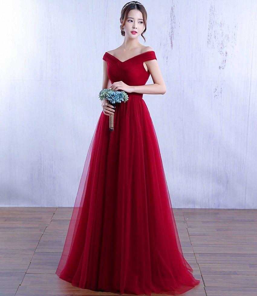Off the Shoulder Long Evening Dresses Burgundy Tulle A-Line ...