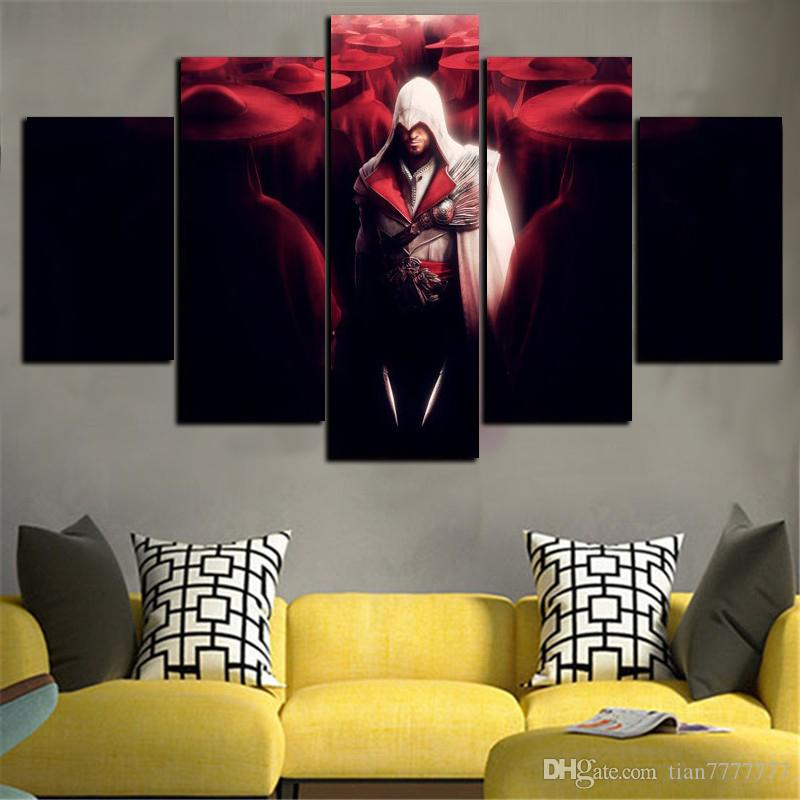 5 Panel Wall Art Assassins Creed Game Painting Living Room Decoration Canvas  Poster Mural Pictures Personalized Gift Assassins Creed Fashion Canvas  Painting ...