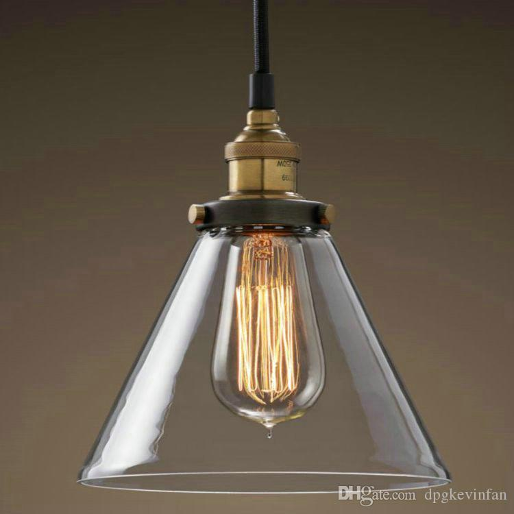clear glass pendant lighting. glass shade pendant lamp meridian transparent edison vintage bulb rh style clear funnel filament light lighting