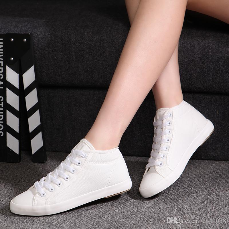 Shoes Women 2016 Spring Brand Casual Shoes For Women High Top Canvas Shoes New Style White