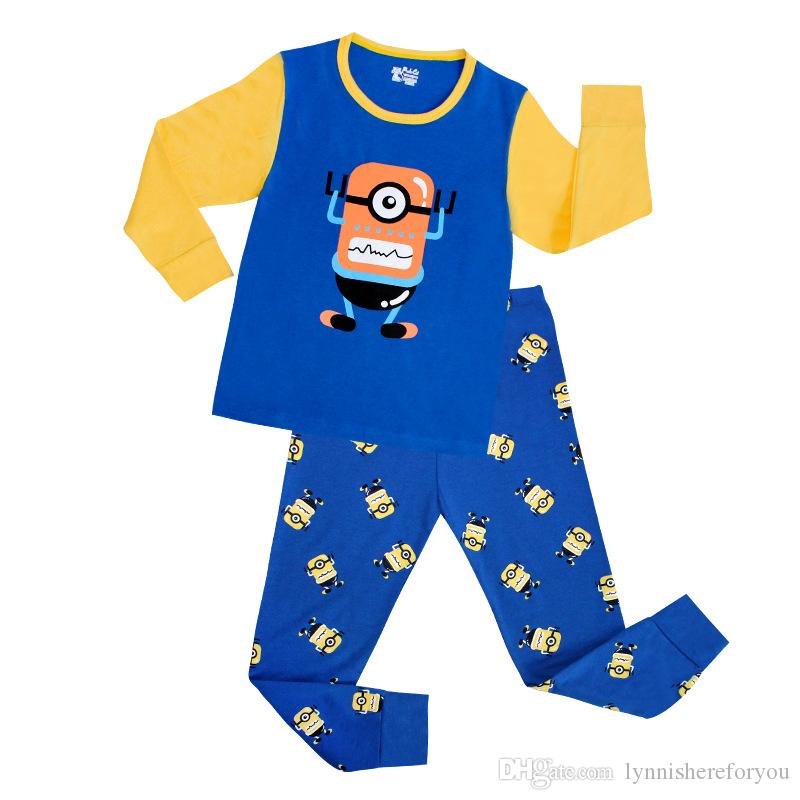 Kid Cotton Lovely Blue Yellow One Household Clothes Sleepwear ...