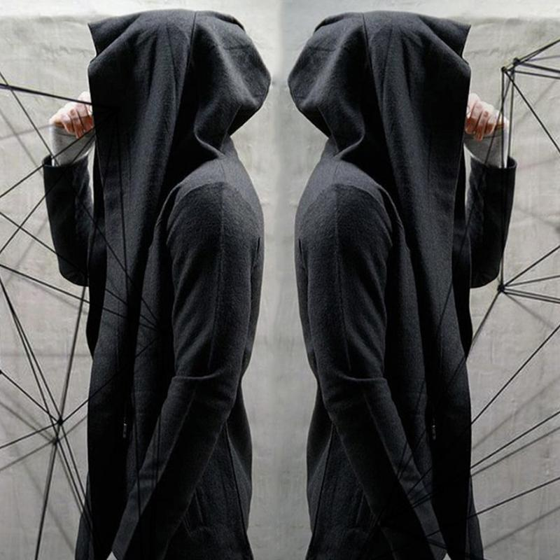 Wholesale- Male Black Hooded Cardigan Wizard Thin Coat Cloak ...