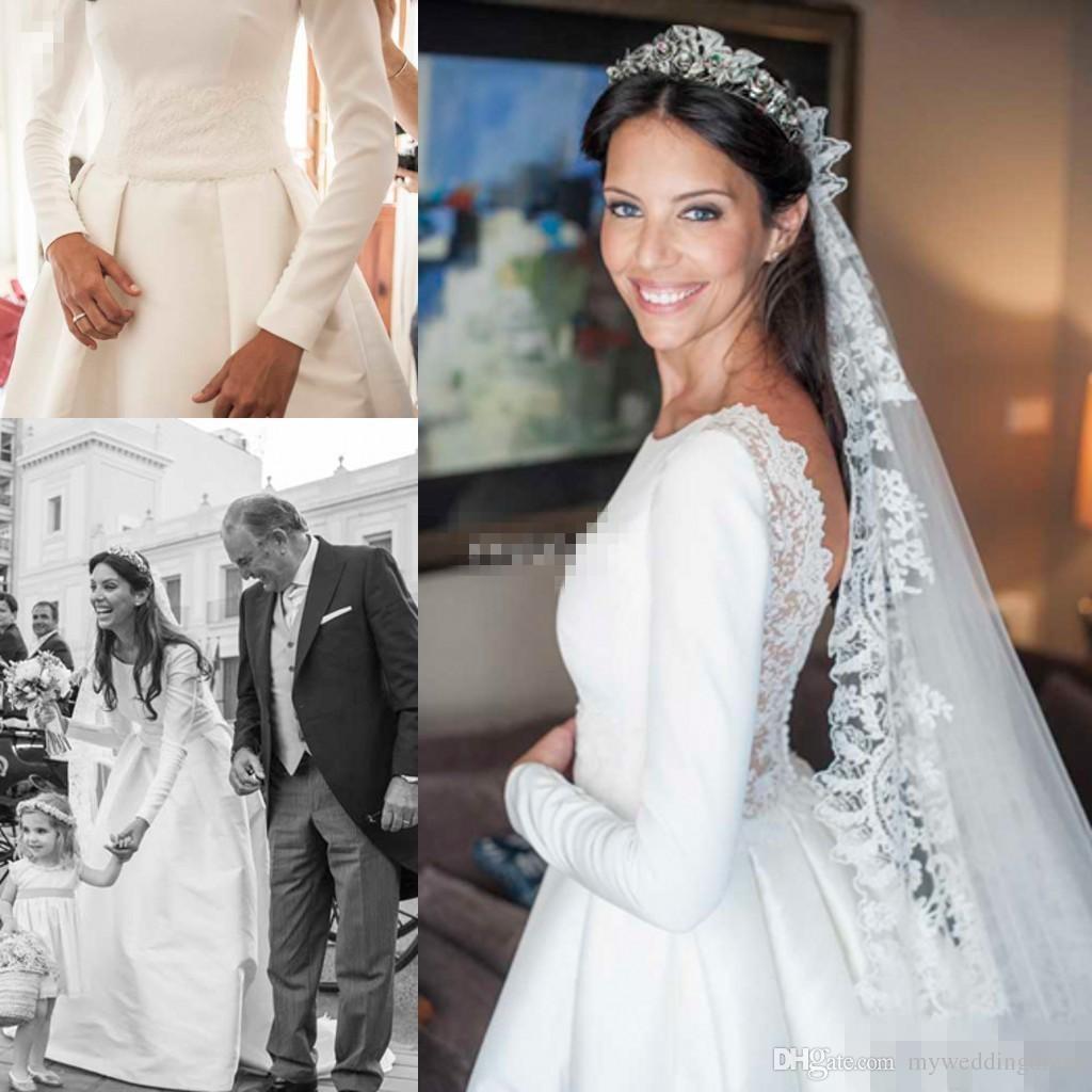 Princess UK Long Sleeve Wedding Dresses Backless Vintage