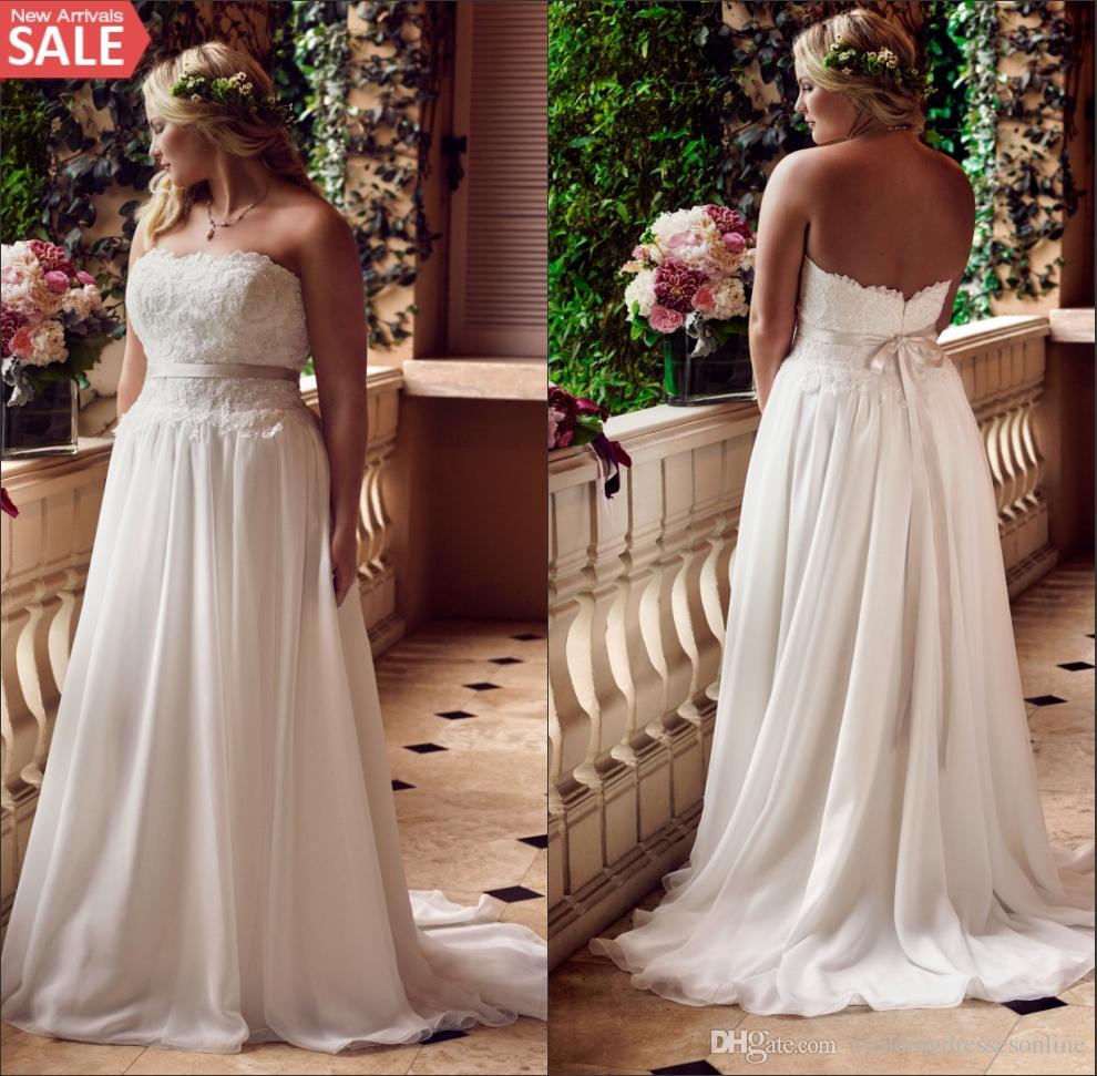 Discount plus size lace beach wedding dresses 2016 big for Plus size wedding dresses beach