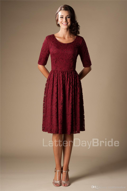 Burgundy Vintage Lace Short Modest Bridesmaid Dresses Half