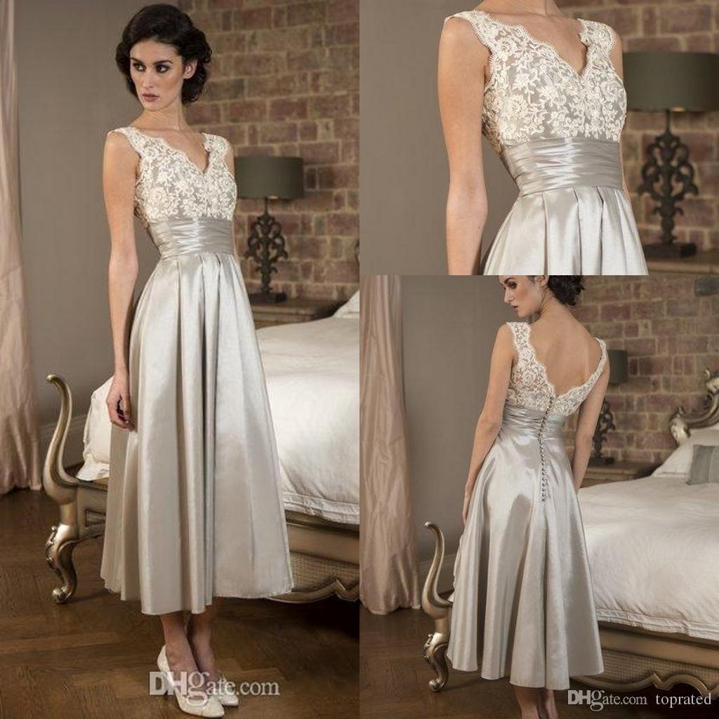 Silver Tea Length Mother Of Bride Dresses Vintage Plus