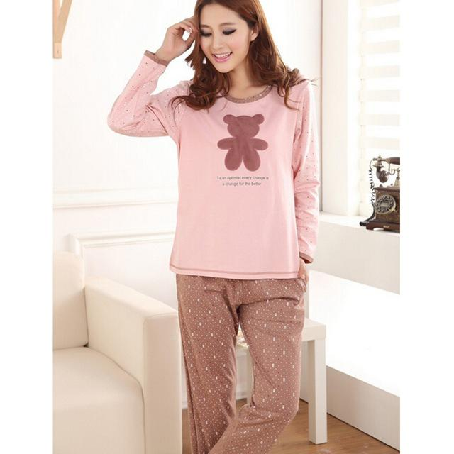 2017 2016 New Winter Sweet Bear Print Cotton Women'S Pajama Set ...