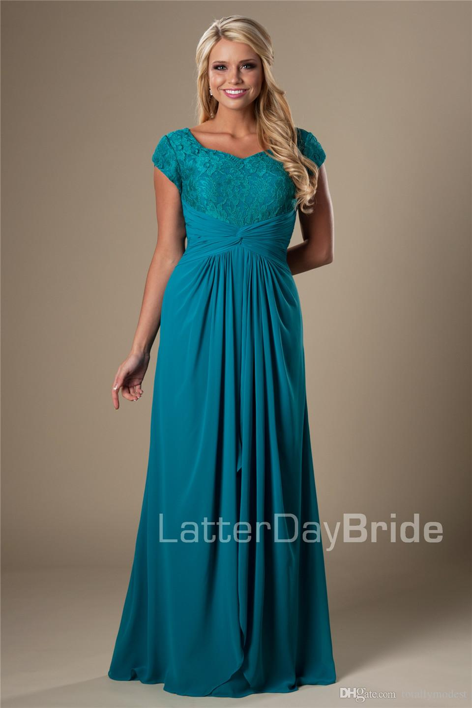 Teal Vintage Lace Chiffon Modest Bridesmaid Dresses 2016 With Cap Sleeves Long Floor Temple