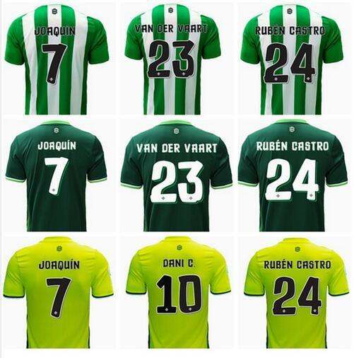 Top qualité thaïlandaise 16 17 Real Betis home Soccer Jersey Rugby JOAQUIN VAN D