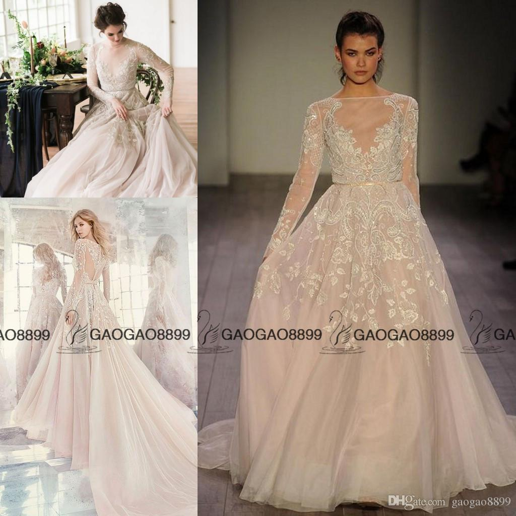 2017 hayley paige champagne long sleeve rococo bridal gown for Champagne pink wedding dresses