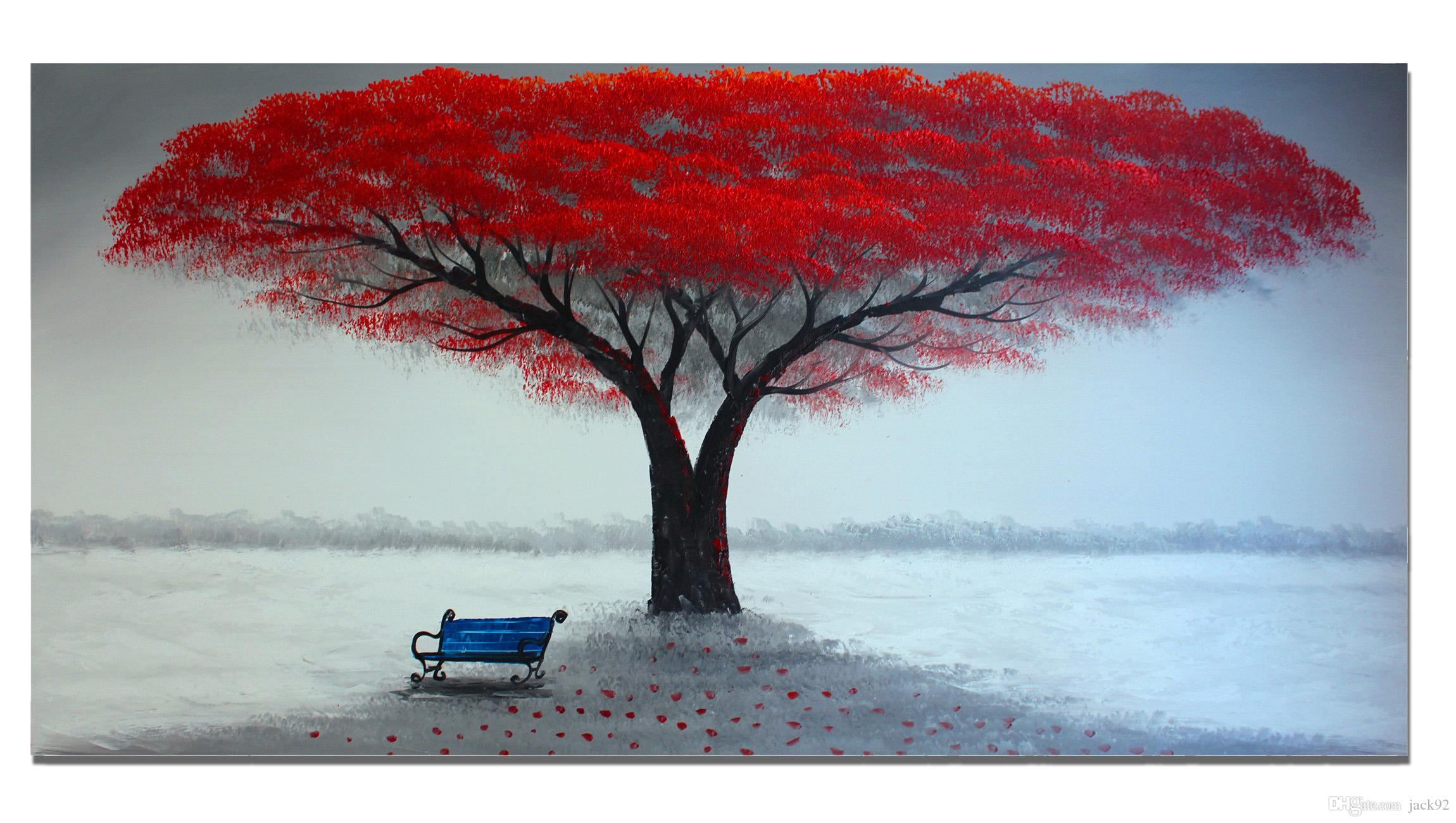 2017 Unframed No Frame Hand Painted Oil Painting On Canvas Large Red Painting Life Tree Modern
