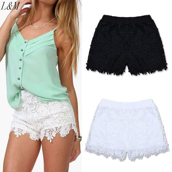 2016 Fashion Ladies New Shorts Elastic High Waist Lace Shorts ...