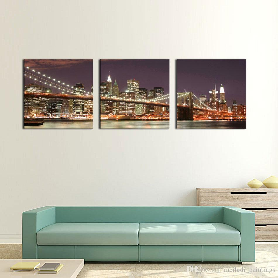 3 panel wall art blue brooklyn bridge and manhattan skyline at