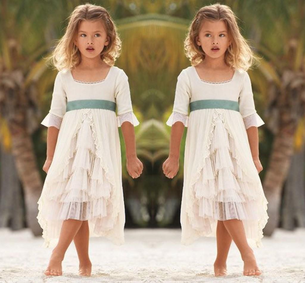 2016 Square Neckline Flower Girl Dresses For Beach Wedding Half Long Sleeves Chiffon Tiered ...