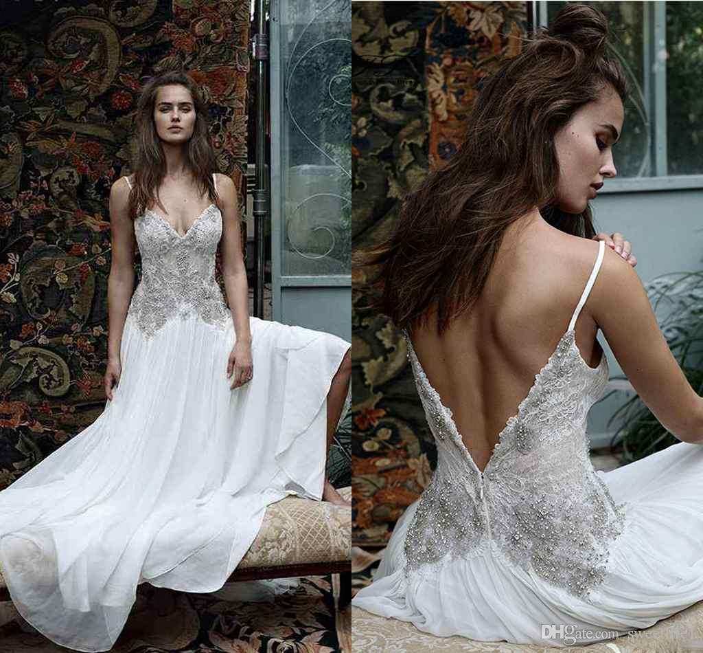 Discount lihi hod 2016 boho wedding dresses spaghetti neck for Lihi hod wedding dress for sale