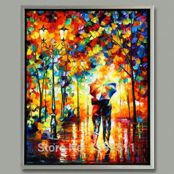2017 Home Decor Leonid Afremov Under One Umbrella Oil Painting Wall Art Canvas Picture Modern Abstract Home Decor Living Room From Motocyle