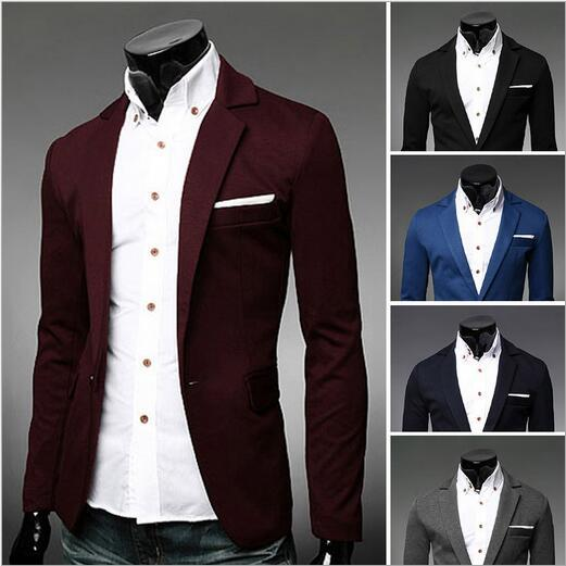 Personalize Long Sleeve Men Casual Blazer Solid Color Single ...