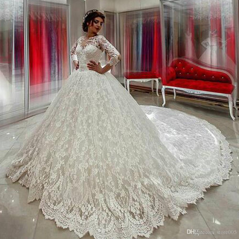 Luxury Vintage Long Sleeve Lace Wedding Dresses Ball Gown Arabic Country Western Bridal Gowns
